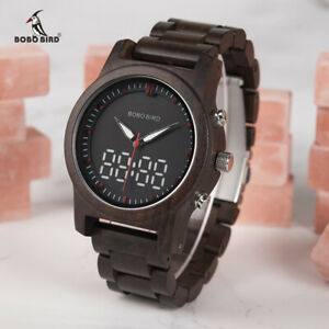 【送料無料】腕時計 ボボラグジュアリーデジタルクリスマスbobo bird luxury men watches led digital double display wood xmas gifts for him