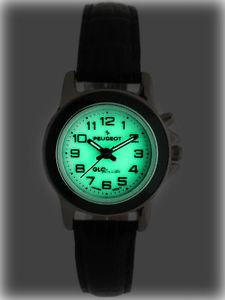 【送料無料】腕時計 ダークウォッチレザーストラッププジョーグローリーダーアラビアpeugeot women glow in dark watch w leather strap amp; easy reader arabic numerals