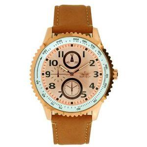 【送料無料】腕時計 メンズゴールドベゼルタンレザーストラップアナログクォーツバックルクラスプローズ