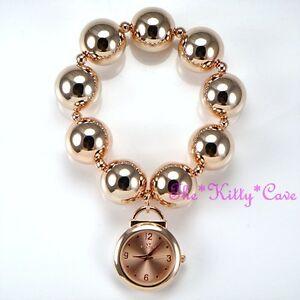 【送料無料】腕時計 デザイナーローズゴールドメッキカフブレスレットボールビーズウォッチdesigner rose gold plated big chunky ball beads boho cuff bracelet charm watch