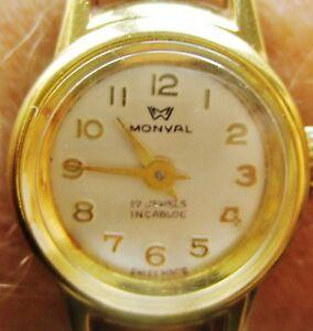 【送料無料】腕時計 ビンテージスイスレディースブレスレットウォッチvintage swiss ladies gold plated monval 17 jewels bracelet watch for