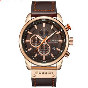 【送料無料】腕時計 メンズクロノグラフクオーツルマンレザーcurren mens 45mm leather chronograph luxury waterproof quartz mans