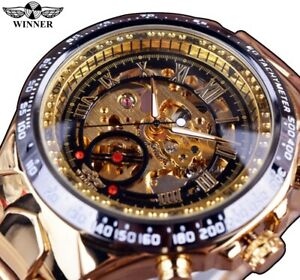 【送料無料】腕時計 メンズクリスマススポーツデザインベゼルwinner luxury watches number sports design bezel golden mens xmas gifts for him