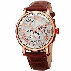 【送料無料】腕時計 メンズクォーツマルチファンクションローズゴールドブラウンレザーウォッチmens akribos xxiv ak1003rg quartz multifunction rose goldbrown leather watch
