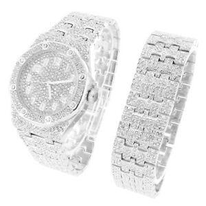 【送料無料】腕時計 スチールバックメンズラグジュアリーホワイトウォッチブレスレットセット