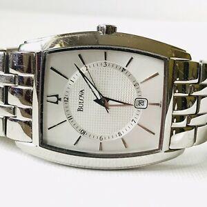 【送料無料】腕時計 メンズステンレススチールバッテリーbulova mens date watch 96b121 all stainless steel silver fresh battery