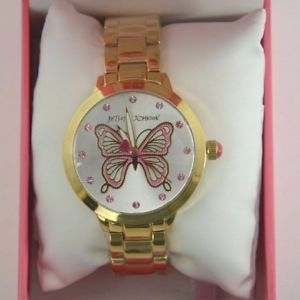 【送料無料】腕時計 ジョンソンゴールドトーンステンレススチールバタフライブレスレットウォッチbetsey johnson bj0034030 gold tone stainless steel butterfly bracelet watch nwb