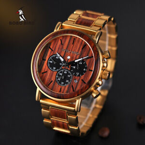 【送料無料】腕時計 ボボクロノグラフクリスマスボックスbobo bird wooden luxury watches chronograph date xmas gifts for him dad gift box