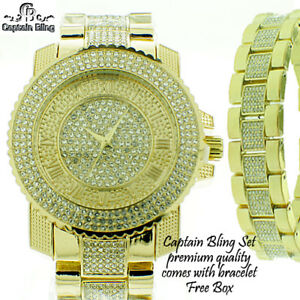 【送料無料】腕時計 メンズキャプテン#セットウォッチmens iced out watch by ice nation captain bling watch set 21 full of ice gld