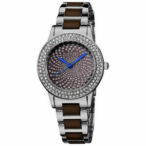 【送料無料】腕時計 シュタイナークリスタルブラウンセラミックリンクブレスレットwomens august steiner as8052br crystal glitz brown ceramic link bracelet watch