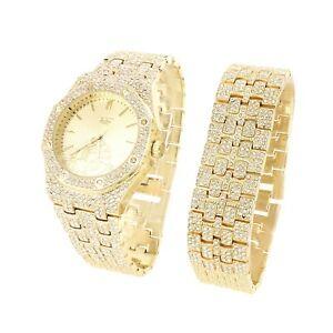 【送料無料】腕時計 メンズゴールドウォッチブレスレットテクノセットmens iced out presidential look gold finish watch bracelet set techno pave