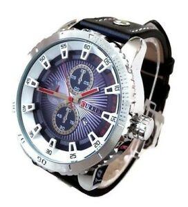 【送料無料】腕時計 メンズファッションウォッチブラックレザーシルバーケース