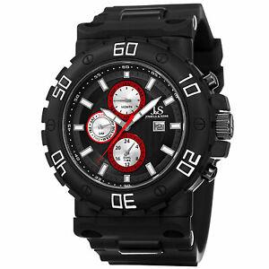 【送料無料】腕時計 メンズジョシュアスイスデュアルタイムブラックシリコンウォッチ