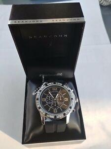 【送料無料】腕時計 ブランドショーンジョンメンズステンレススチールブラックシリコンストラップ