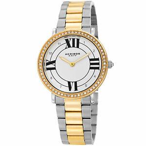 【送料無料】腕時計 スワロフスキートーンステンレススチールブレスレットwomens akribos xxiv ak1036rg swarovski two tone stainless steel bracelet watch