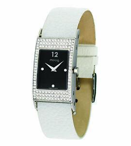【送料無料】腕時計 パリノワールブレスレットブランmoog paris montre femme avec cadran noir, bracelet blanc en cuir vritable