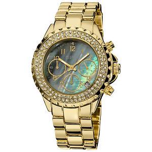【送料無料】腕時計 シュタイナークリスタルクロノグラフゴールドトーンブレスレット womens august steiner as8031yg crystal chronograph goldtone bracelet watch