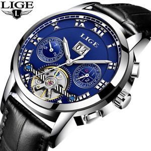 【送料無料】腕時計 ビジネススポーツluxury watch date leather automatic business waterproof sports glow gift for him