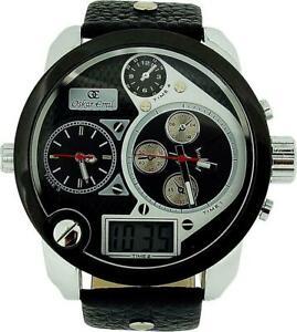 【送料無料】腕時計 オスカーデュアルタイムゾーンデジタルアナログブラックストラップウォッチ