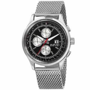 【送料無料】腕時計 シュタイナータイムゾーンタキメーターメッシュブレスレットmens august steiner as8194ssb two time zone date tachymeter mesh bracelet watch