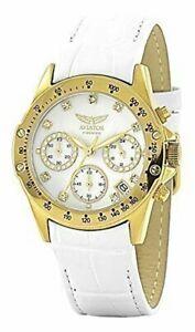 【送料無料】腕時計 クロノグラフホワイトレザーウォッチストラップaviator avw3589l87 womens chronograph watch white leather strap