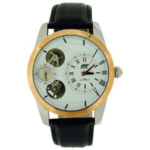 【送料無料】腕時計 クロノオートマチックスケルトンブラックレザーストラップウォッチ