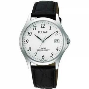 【送料無料】腕時計 パルサーステンレススチールレザーストラップmウォッチpulsar pxh565x1 gents stainless steel leather strap 100m water resistant watch