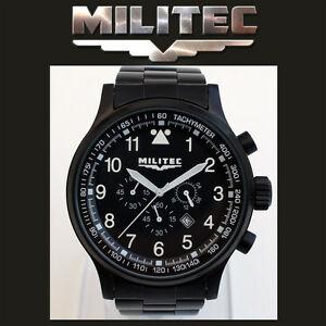 【送料無料】腕時計 パイロットクロノグラフブラックアーミーウォッチ