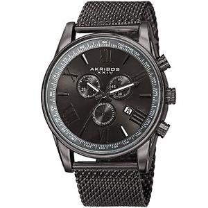 【送料無料】腕時計 メンズスイスクオーツクロノグラフメッシュウォッチmens akribos xxiv ak813gn chronograph date complication swiss quartz mesh watch