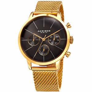 【送料無料】腕時計 メンズスイスクオーツマルチファンクションゴールドトーンメッシュウォッチmens akribos xxiv ak714yg swiss quartz multifunction goldtone ss mesh watch