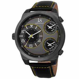 【送料無料】腕時計 メンズジョシュアトリプルタイムゾーンストラップクォーツmens joshua amp; sons js88yl triple time zone genuine leather strap quartz watch