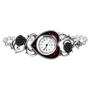 【送料無料】腕時計 バラエナメルスワロフスキークリスタルピューターブレスレットゴシックベッドalchemy gothic bed of blood roses enamel swarovski crystal pewter bracelet watch