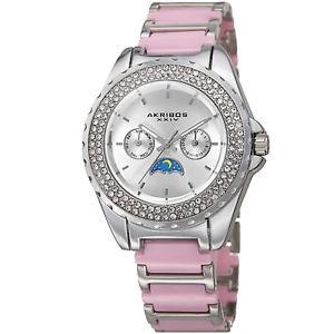 【送料無料】腕時計 クリスタルベゼルブレスレットwomens akribos xxiv ak961sspk multifunction ampm crystal bezel bracelet watch