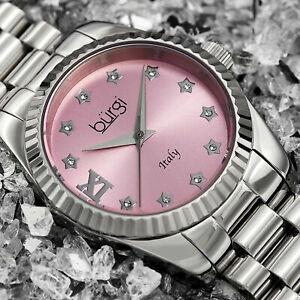 【送料無料】腕時計 バールスイススワロフスキーステンレススチールシルバーブレスレットウォッチwomens burgi bur194sspk swiss swarovski stainless steel silver bracelet watch