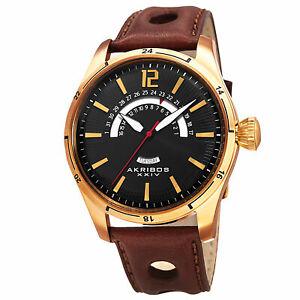 【送料無料】腕時計 ゴールドトーンブラウンレザーストラップウォッチmens akribos xxiv ak850yg goldtone retrograde date brown leather strap watch