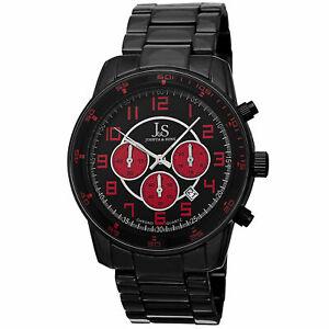 【送料無料】腕時計 メンズジョシュアレッドブラッククォーツクロノグラフブレスレット