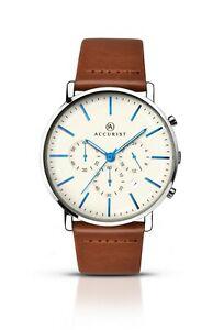 【送料無料】腕時計 クロノグラフウォッチブラウンレザーストラップaccurist gents chronograph watch with brown leather strap 7169 rrp 13999