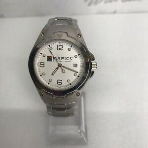 【送料無料】腕時計 ソフトウェアメンズステンレススチールテックmapics software mens large watch water resistant stainless steel tech