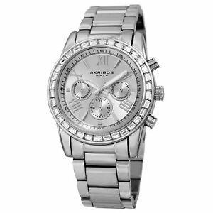 【送料無料】腕時計 インジケータスワロフスキークリスタルベゼルウォッチwomens akribos xxiv ak943ss 24 hour indicator swarovski crystal bezel watch
