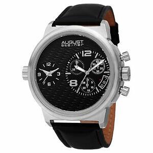 【送料無料】腕時計 #シュタイナースイスクロノグラフデュアルタイムレザーウォッチmen039;s august steiner as8151ssb large swiss chronograph dual time leather watch
