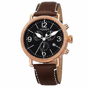 【送料無料】腕時計 スイスクロノグラフブラウンウォッチ mens akribos xxiv ak753br swiss chronograph brown genuine leather watch