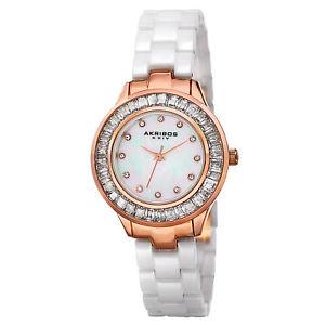 【送料無料】腕時計 ベゼルホワイトセラミックウォッチ womens akribos xxiv ak781wtr quartz crystal bezel white ceramic watch