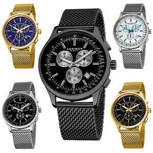 【送料無料】腕時計 メンズスイスクロノグラフステンレスメッシュウォッチmens akribos xxiv ak625 swiss chronograph date stainless steel mesh watch