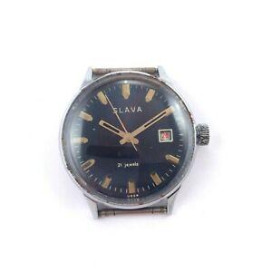 【送料無料】腕時計 ビンテージロシアソスラゼンマイサービスvintage russian soviet slava windup watch 1980s 36mm serviced *us seller* 1399
