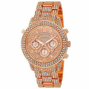 【送料無料】腕時計 クリスタルアクセントローズトーンマルチファンクションウォッチ womens akribos xxiv ak776rg crystal accented multifunction rosetone watch