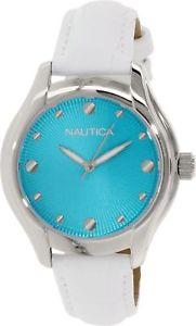 【送料無料】腕時計 ホワイトレザークォーツbrand nautica womens n10509m white leather quartz watch
