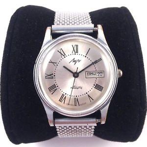 【送料無料】腕時計 ソブレスレットウォッチextremely rare soviet luch quartz watch with bracelet vgc *us seller* 1129