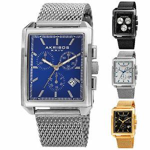【送料無料】腕時計 メンズクロノグラフステンレスメッシュウォッチmens akribos xxiv ak918 chronograph date stainless steel mesh rectangular watch