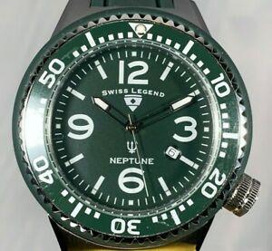 【送料無料】腕時計 スイスネプチューングリーンスイスクオーツシリコンストラップウォッチswiss legend green 52mm neptune swiss quartz date silicone strap watch