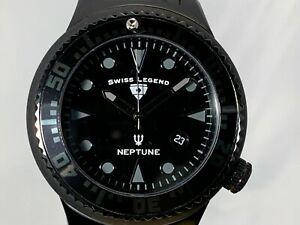 【送料無料】腕時計 スイスネプチューンシリコンウォッチストラップクオーツステンレススチールブラック